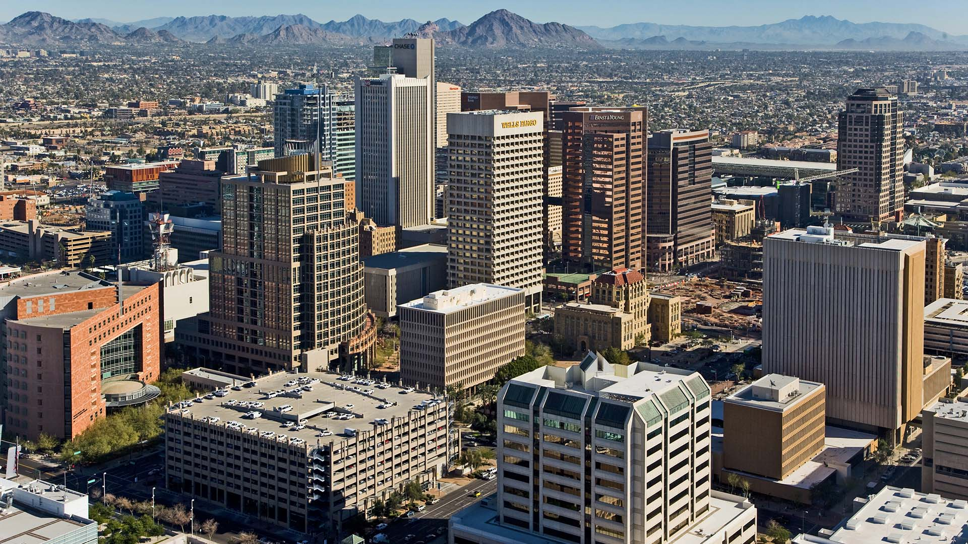 An aerial view of downtown Phoenix.