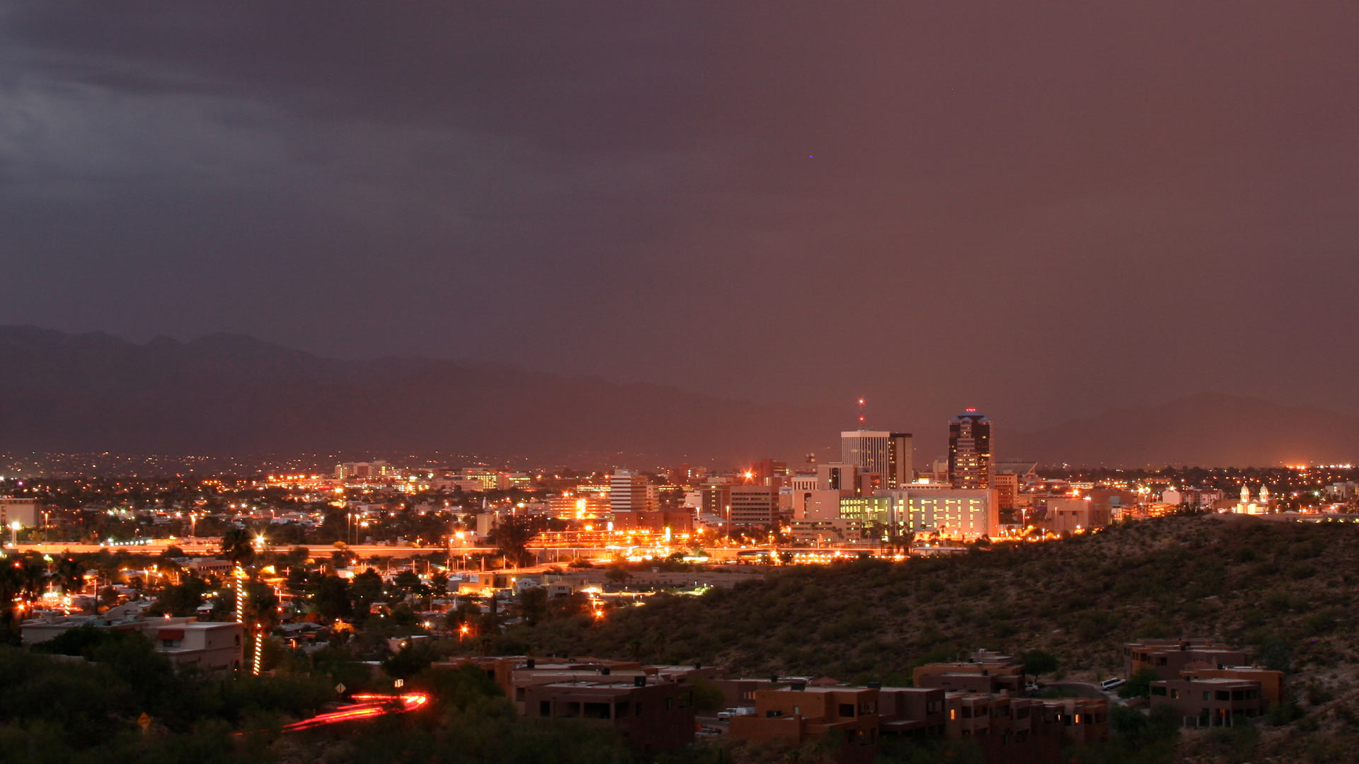 Overlooking the Tucson city skyline at night.