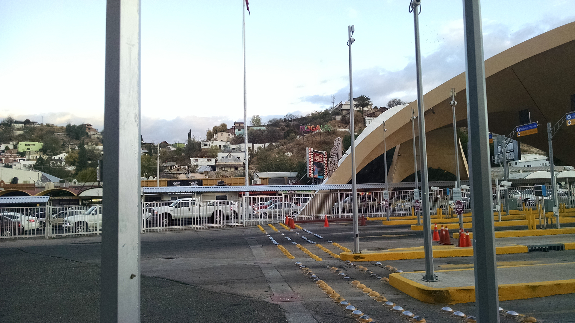 Cars line up to enter the U.S. at the international boundary with Mexico in Nogales.