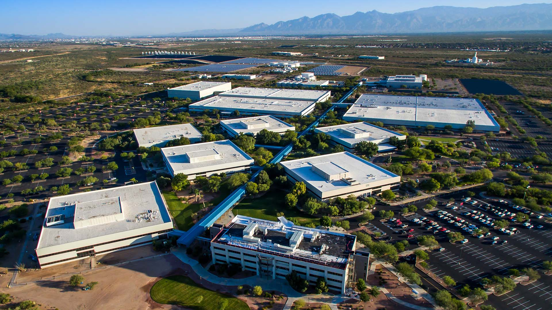An aerial view of the UA Tech Parks.