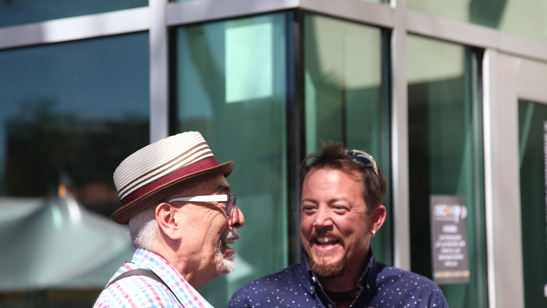 U.S. Poet Laureate Juan Felipe Herrera, left, and Tucson Poet Laureate TC Tolbert, March 10, 2017.