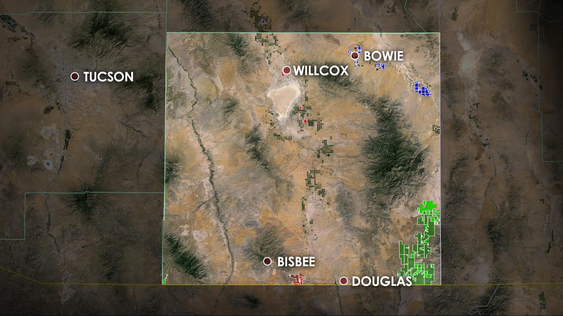 Three groups have purchased large portions of land in Cochise County since 2010. They include Mark Cook, a long-established pecan and pistachio farmer working with a California nut grower (blue); Howard G. Buffett, the son of billionaire Warren Buffett (red); and Stan Kroenke, a land and professional sports mogul (green).