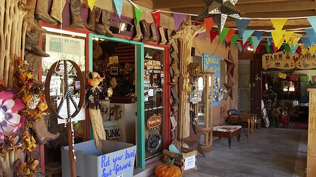 The front porch of Sue and Jerry's trading post in Oracle, AZ.