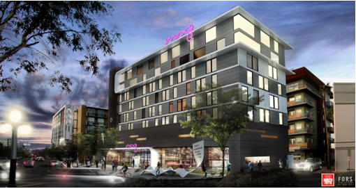 Artist's rendering of the Moxy, a hotel planned for downtown Tucson, North Fifth Avenue at Toole Avenue.