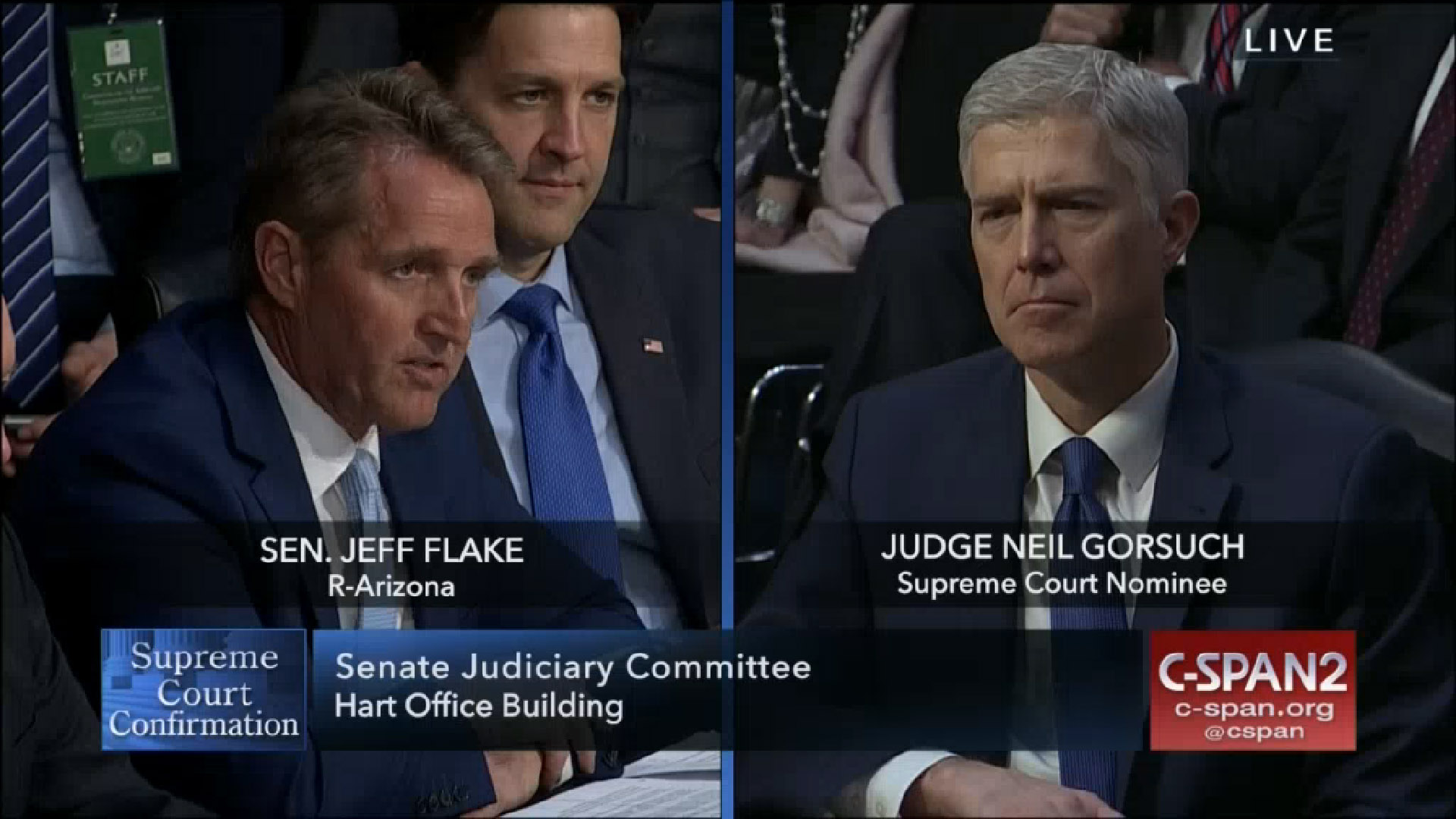 U.S. Senator Jeff Flake, R-Ariz., speaks at confirmation hearings of Supreme Court nominee Neil Gorsuch, March 20, 2017.