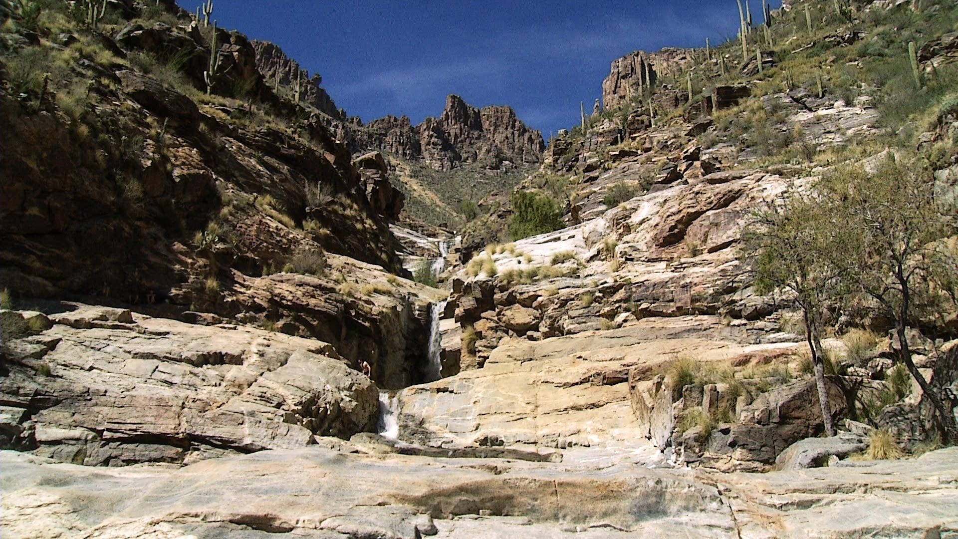 Looking up at Seven Falls, in the Sabino Canyon Recreation Area.
