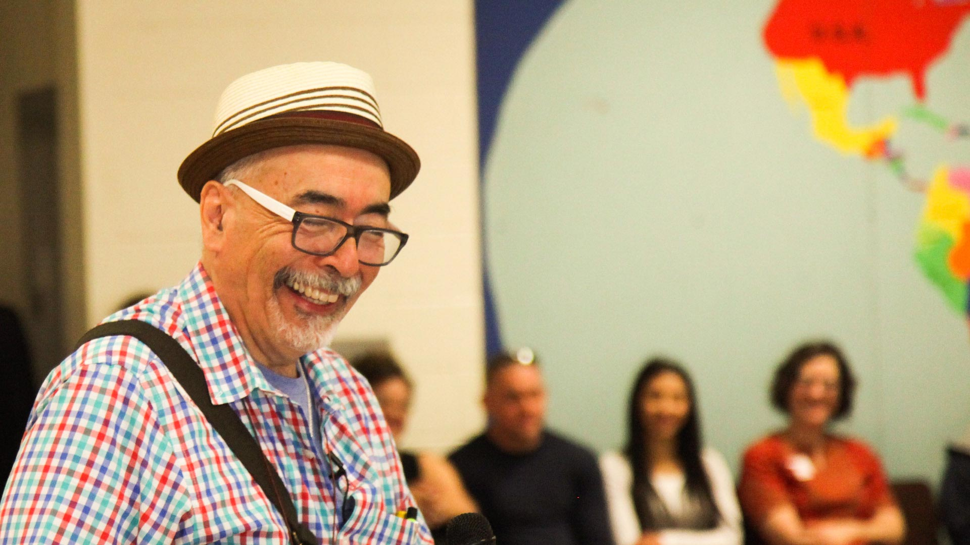 U.S. Poet Laureate Juan Felipe Herrera at the Davis Bilingual Magnet School.
