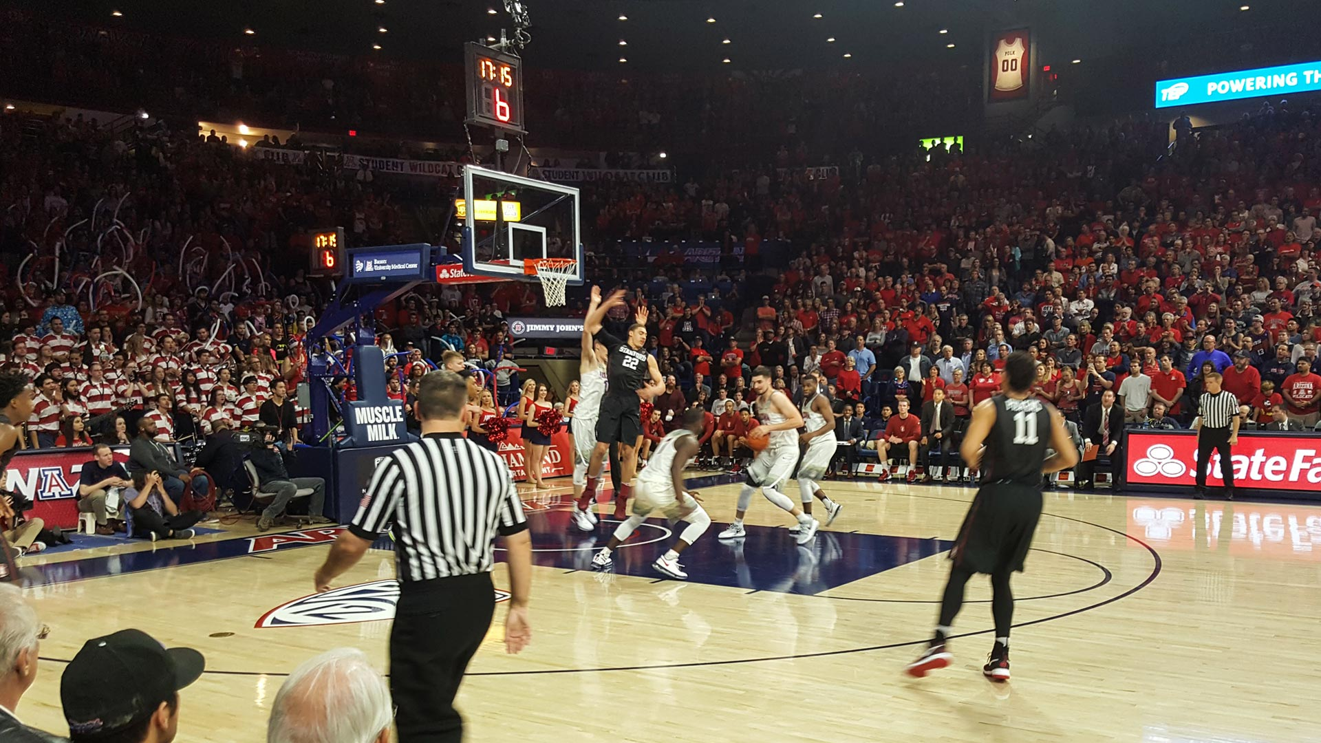 The University of Arizona men's basketball team plays a home game against Stanford in February 2017.