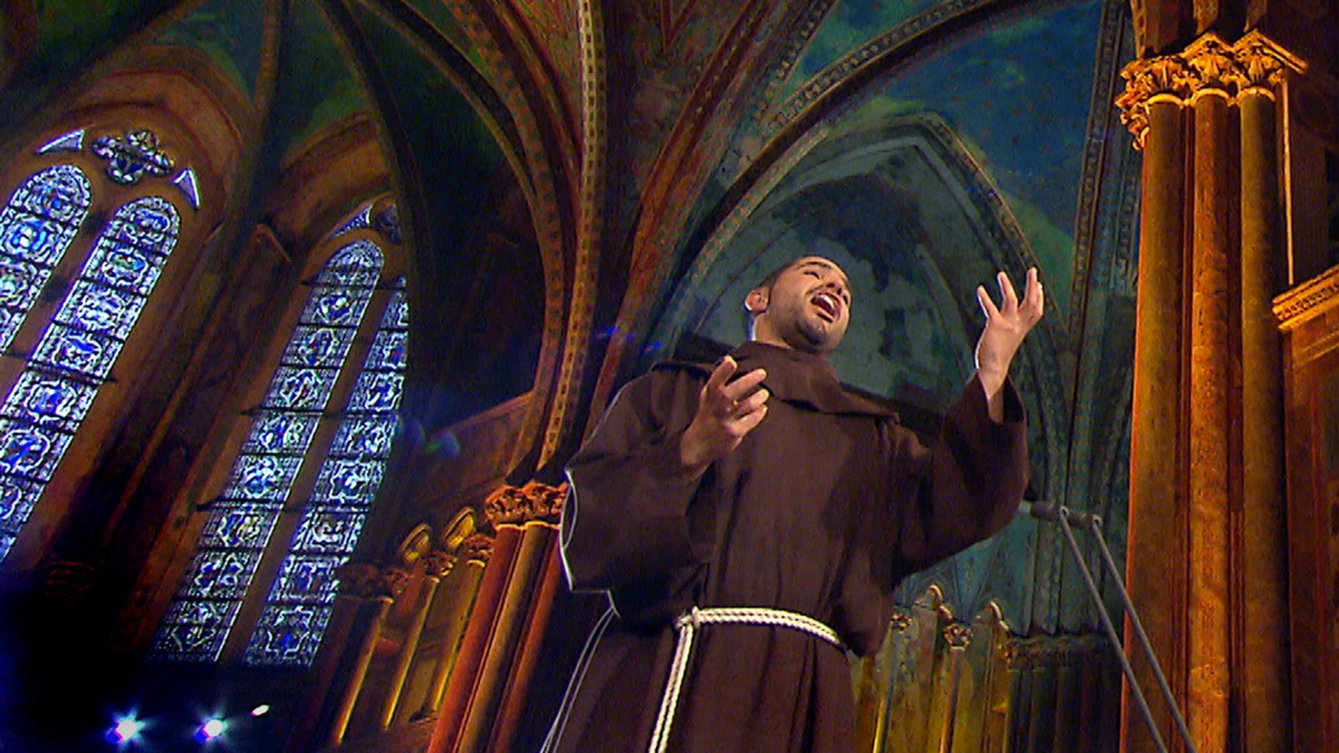 Friar Alessandro in the hilltop Basilica of St. Francis of Assisi in Italy.