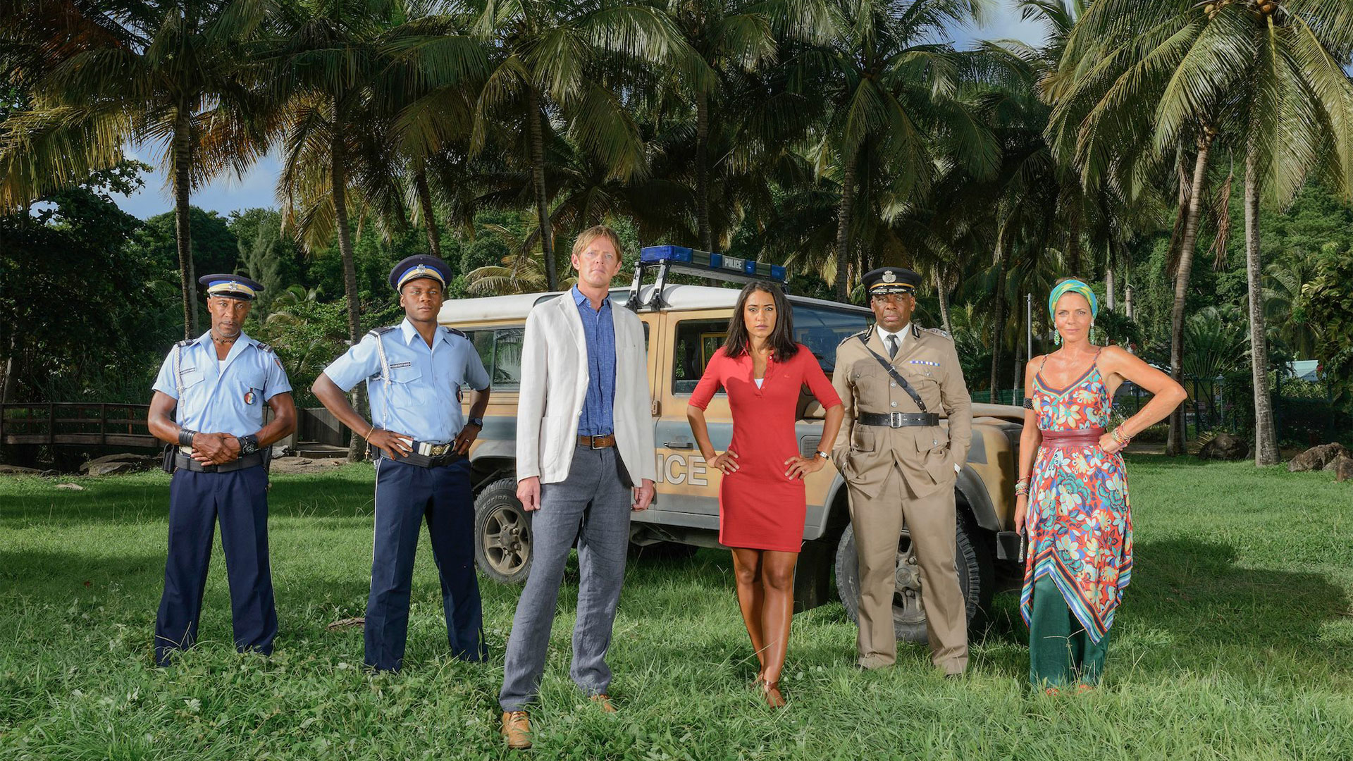 The cast of DEATH IN PARADISE: Season 6. DI Humphrey Goodman and his team are back solving increasingly puzzling murders on the beautiful island of Saint Marie.