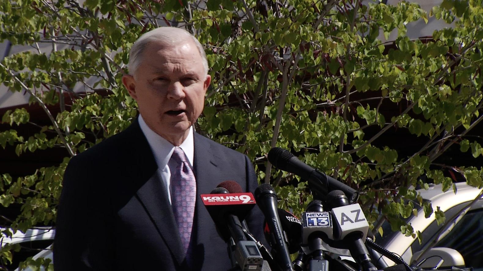 U.S. Attorney General Jeff Sessions visits Nogales, Ariz. April 11, 2017, to announce new immigration enforcement measures.