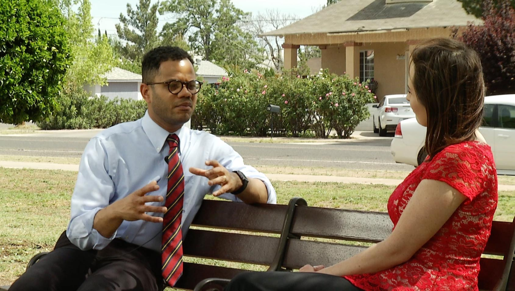 Robert Uribe, mayor of Douglas, Ariz., speaks with Lorraine Rivera, April 2017.
