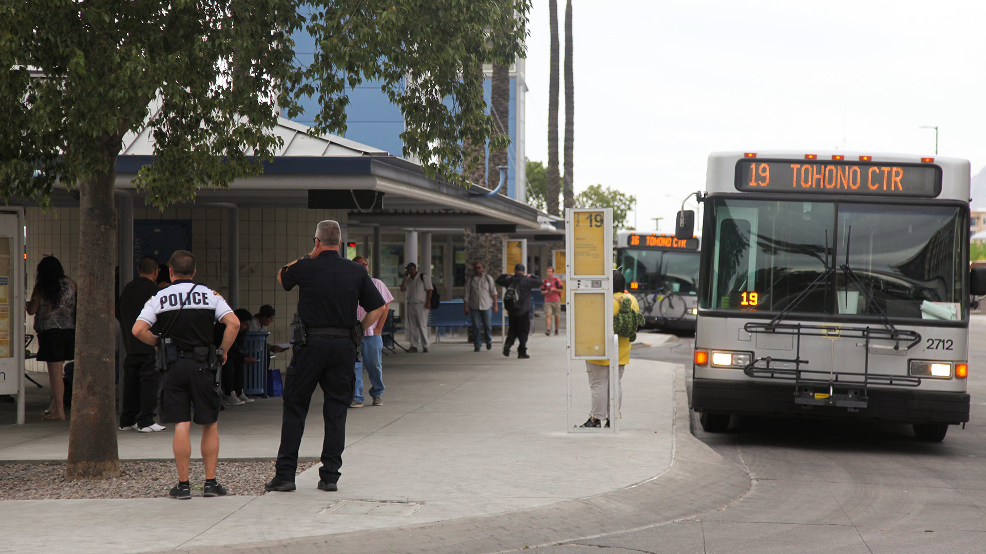 Tucson Police officers at the Ronstadt Transit Center, downtown Tucson, April 2017.