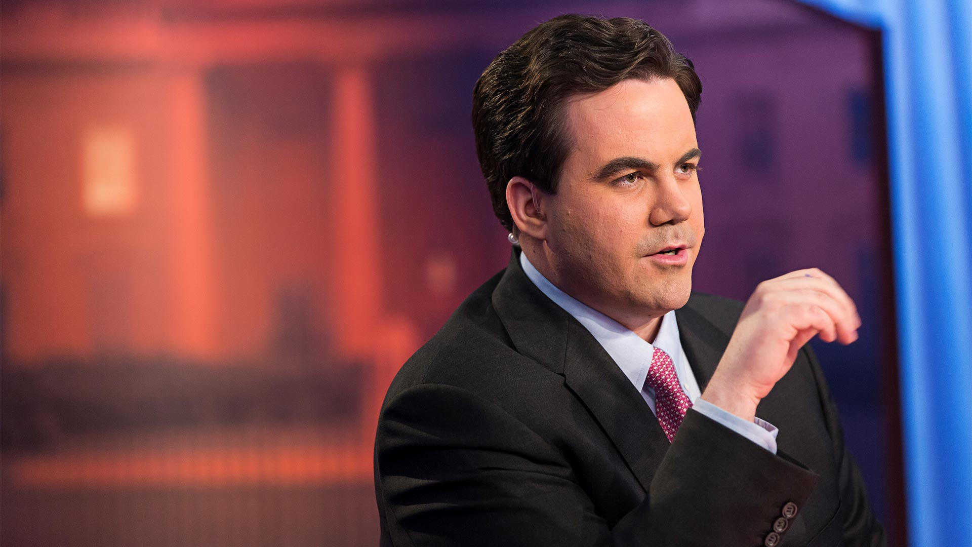 Robert Costa, Moderator of Washington Week, on the set of the weekly news analysis series that airs Fridays at 8:00 p.m. on PBS 6.