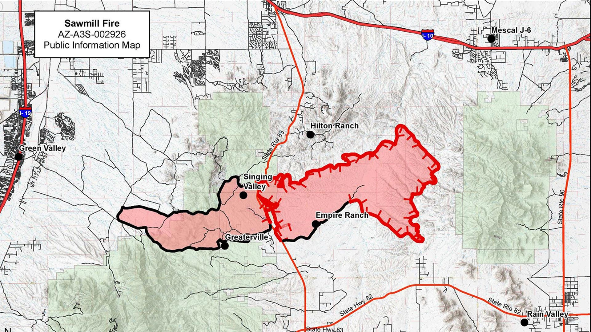 A map of the Sawmill Fire as of April 28. Black borders on the fire area indicate where fire lines are completed.