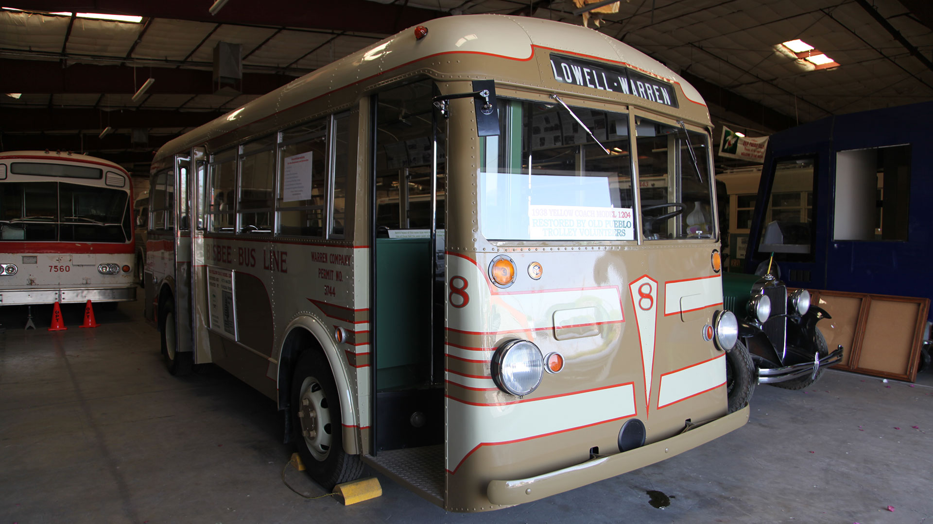 The 1938 bus was restored by a team of volunteers and others from Old Pueblo Trolley, Inc.