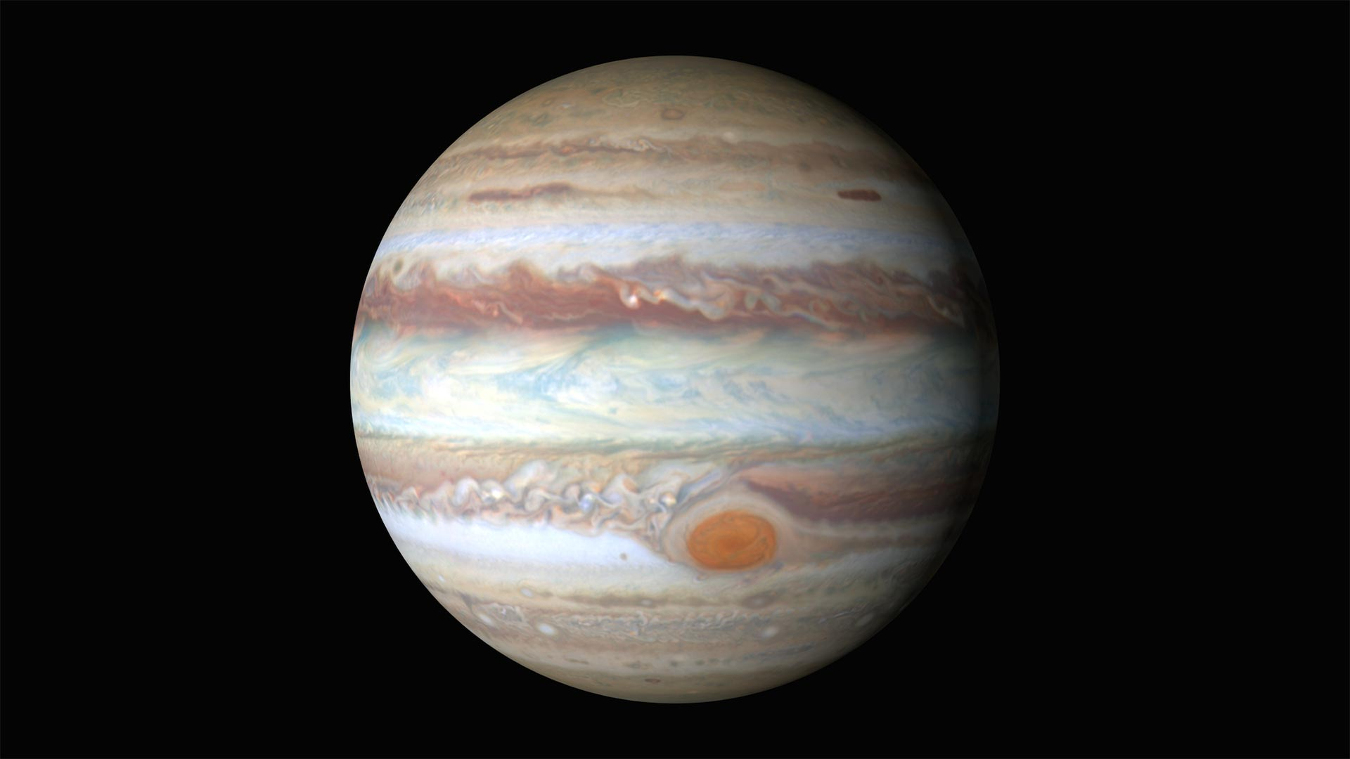 An HD animation of Jupiter created with maps made with Hubble imagery, 2015.