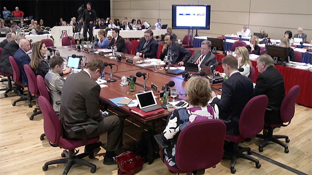 Members of the Arizona Board of Regents meeting at the University of Arizona Thursday. The regents accepted all of the tuition and fee proposals that the three universities put before them.