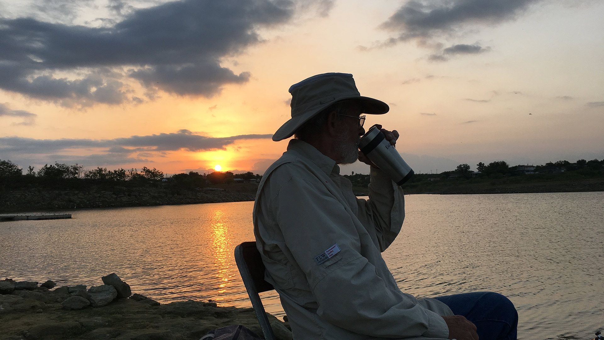 David Loftis fishing for bass from Falcon Lake in Zapata County, Texas. He said he'd move if the United States needed him to in order to build a border wall.