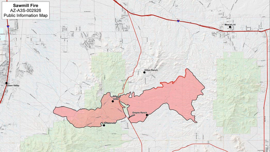 Footprint of the Sawmill Fire, showing black line for containment along 94% of its perimeter, May 1, 2017.