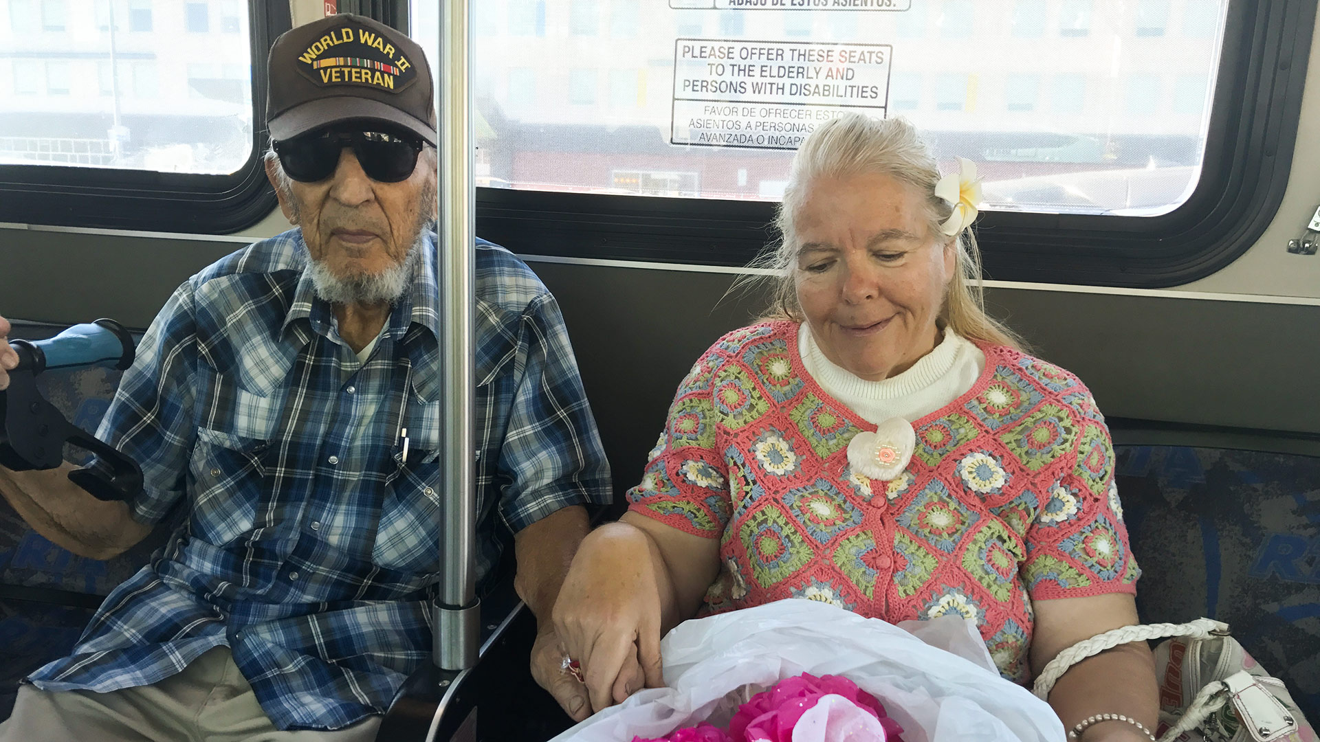 "William ""Bill"" Maciel, 91, has been assisting Elaine Marie Troy with the flowers since they met a year ago."