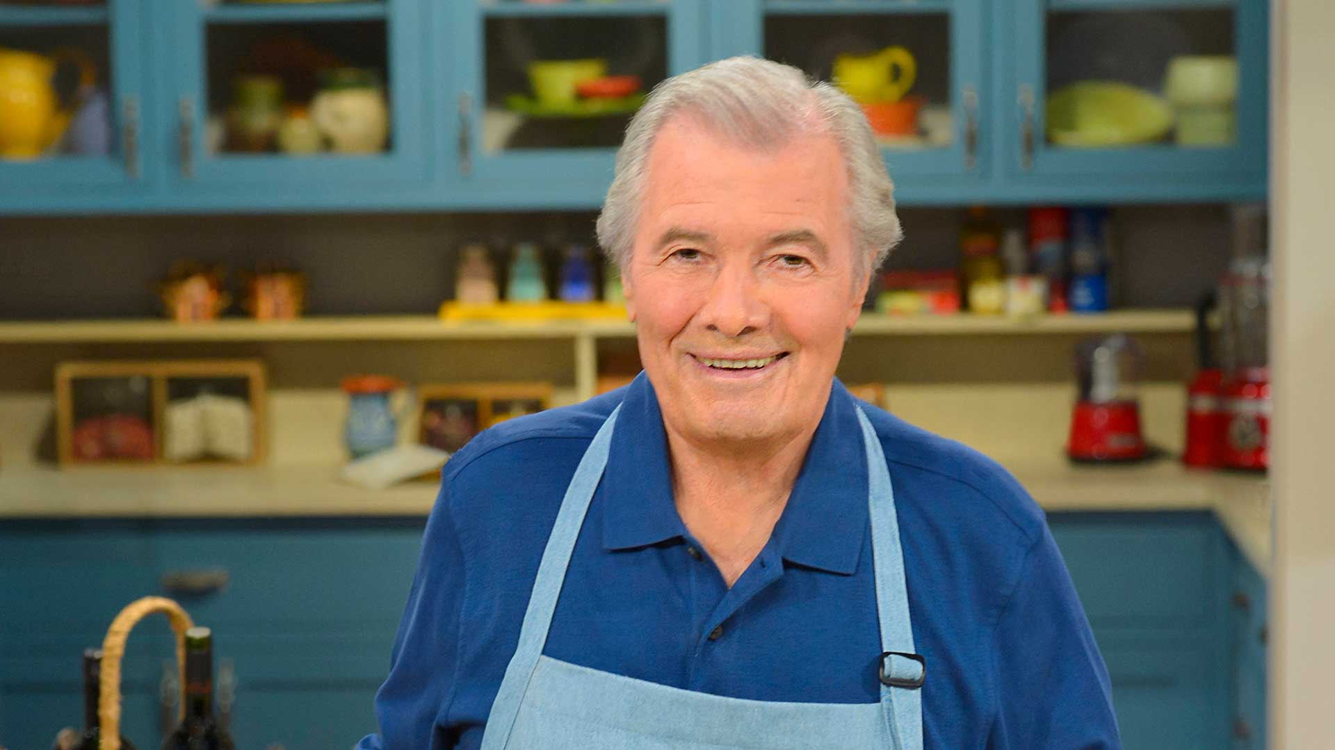 Jacques Pépin on the set of Jacques Pépin Heart and Soul.