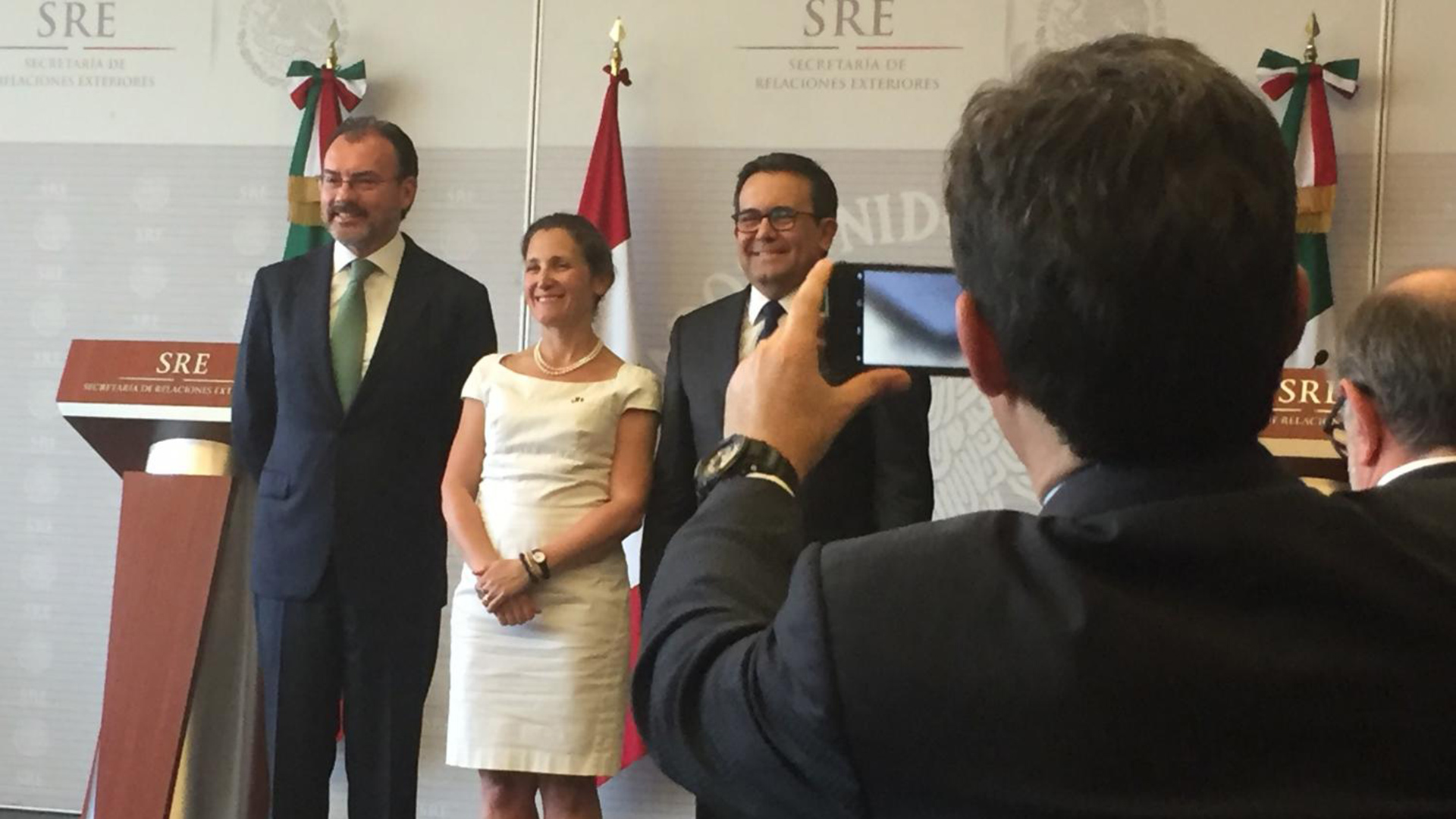 Luis Videgaray, the Mexican secretary of foreign affairs; Chrystia Freeland, Canada's minister of foreign affairs; and Ildefonso Guajardo, Mexico's secretary of economy, met in Mexico City to discuss NAFTA and other issues.