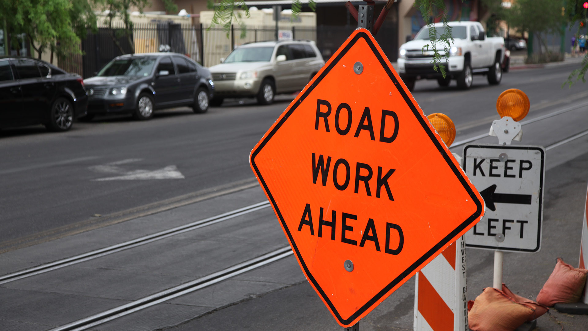 Road work sign downtown hero