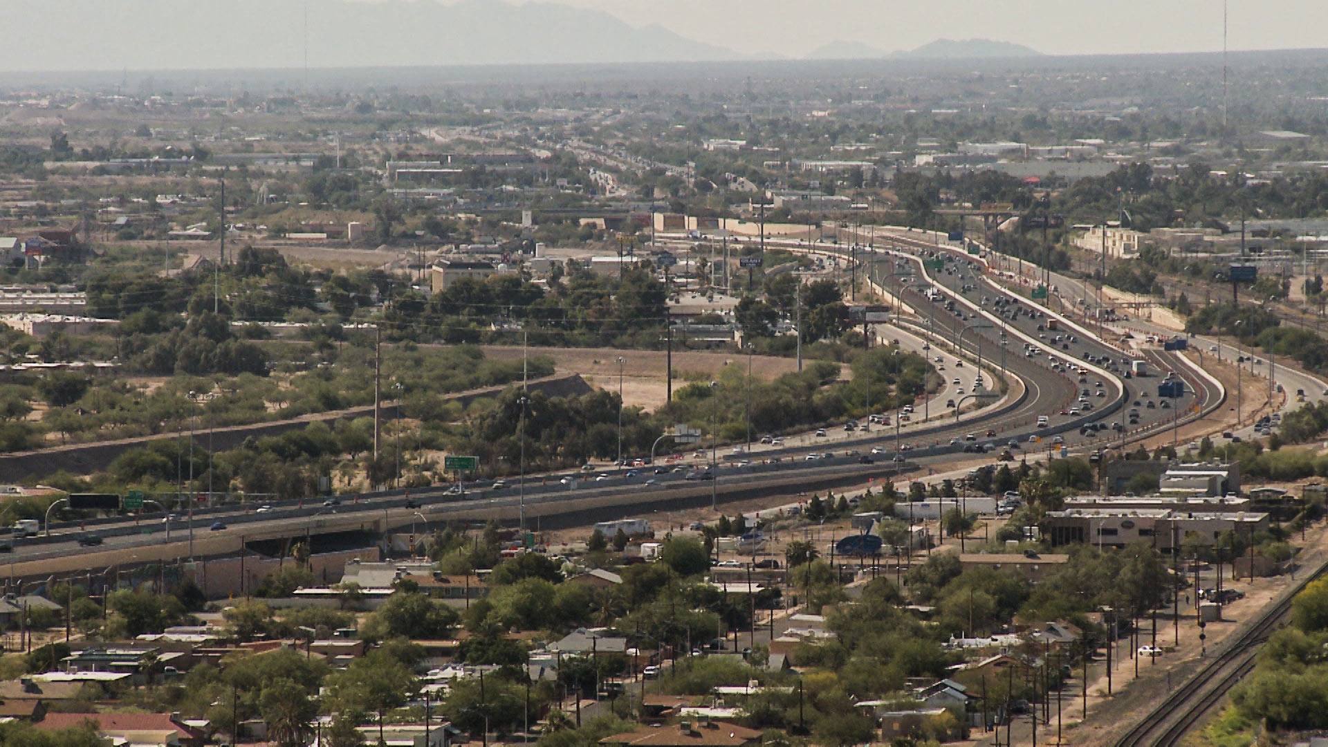 Cars moving through Tucson.