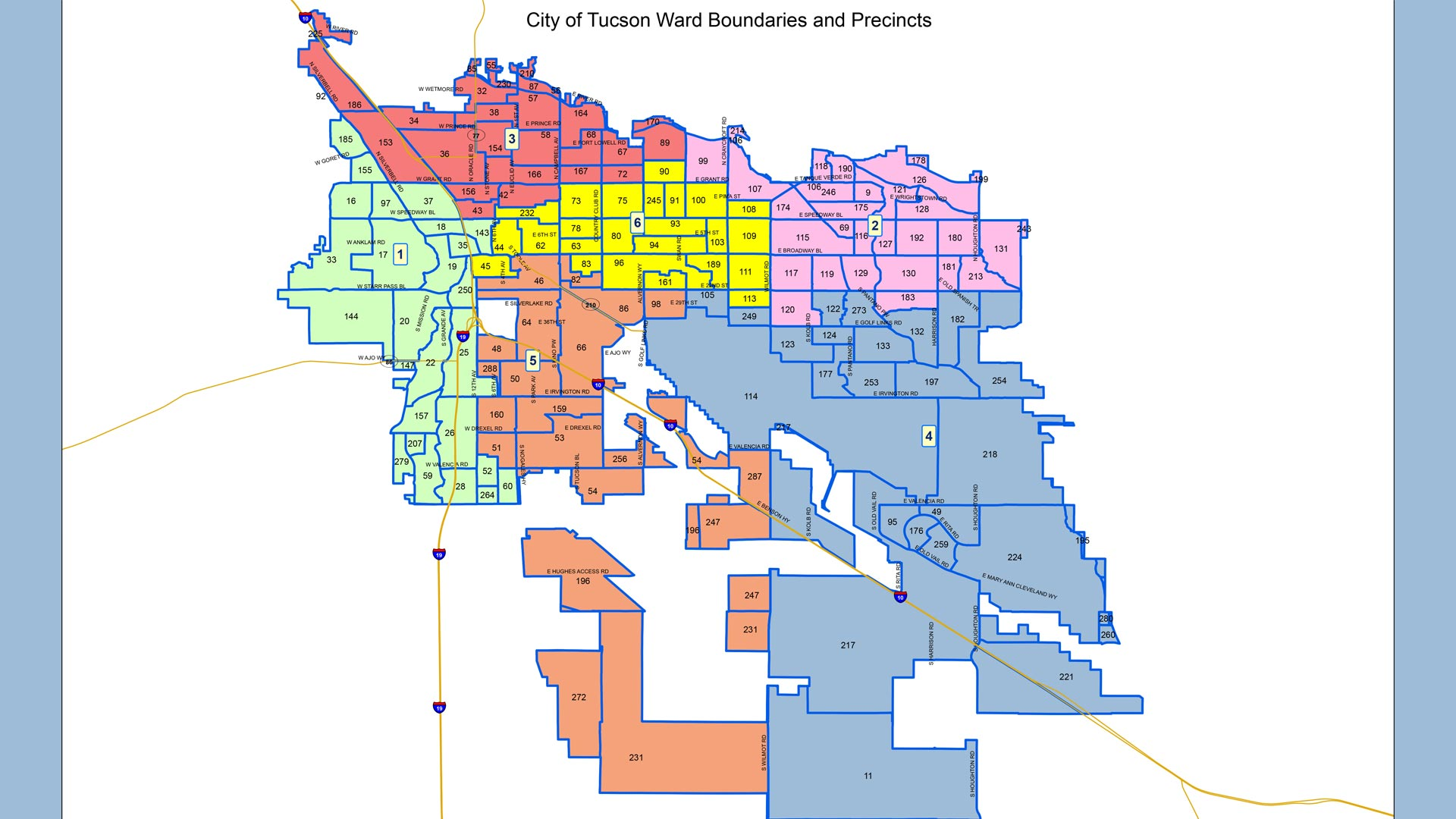 City of Tucson ward boundaries and precincts.