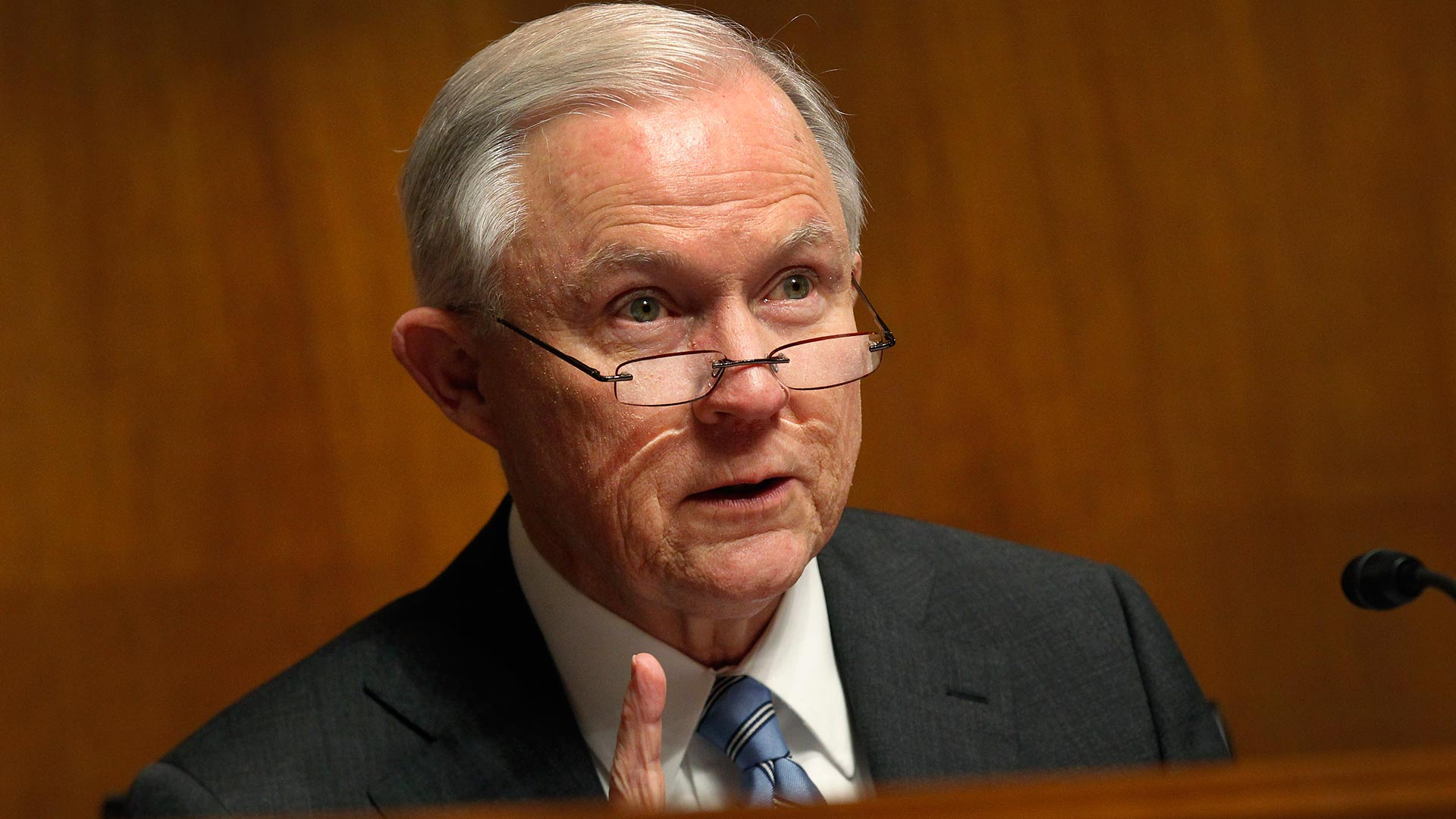 Then- Sen. Jeff Sessions (R-AL) during remarks before the Senate Subcommittee on Immigration and the National Interest, in Washington, D.C., Jan. 20, 2016.