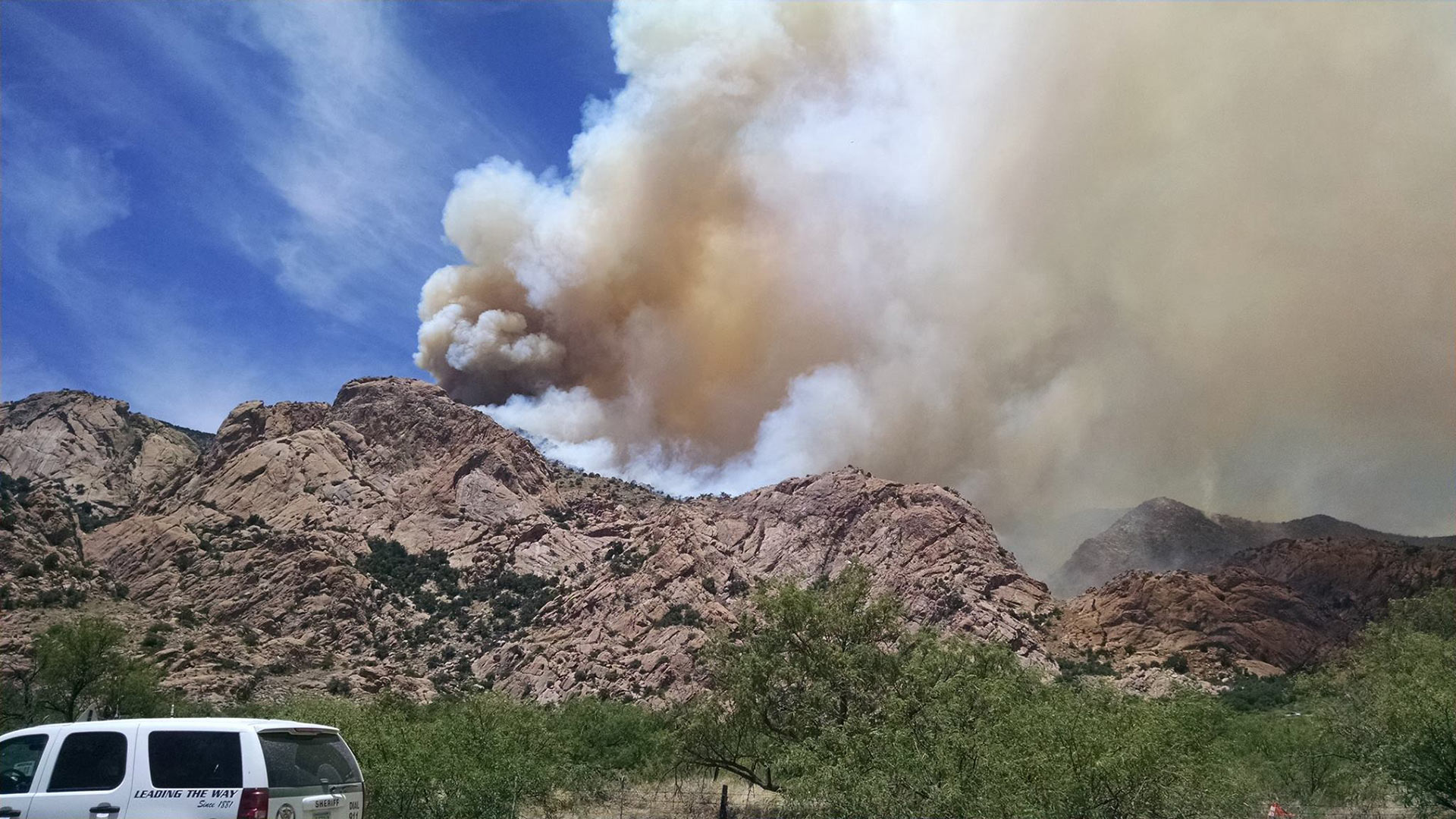 Cochise Stronghold in the Dragoon Mountains, where the Lizard Fire had burned 15,131 acres by midday June 13, 2017. Photo from June 10.