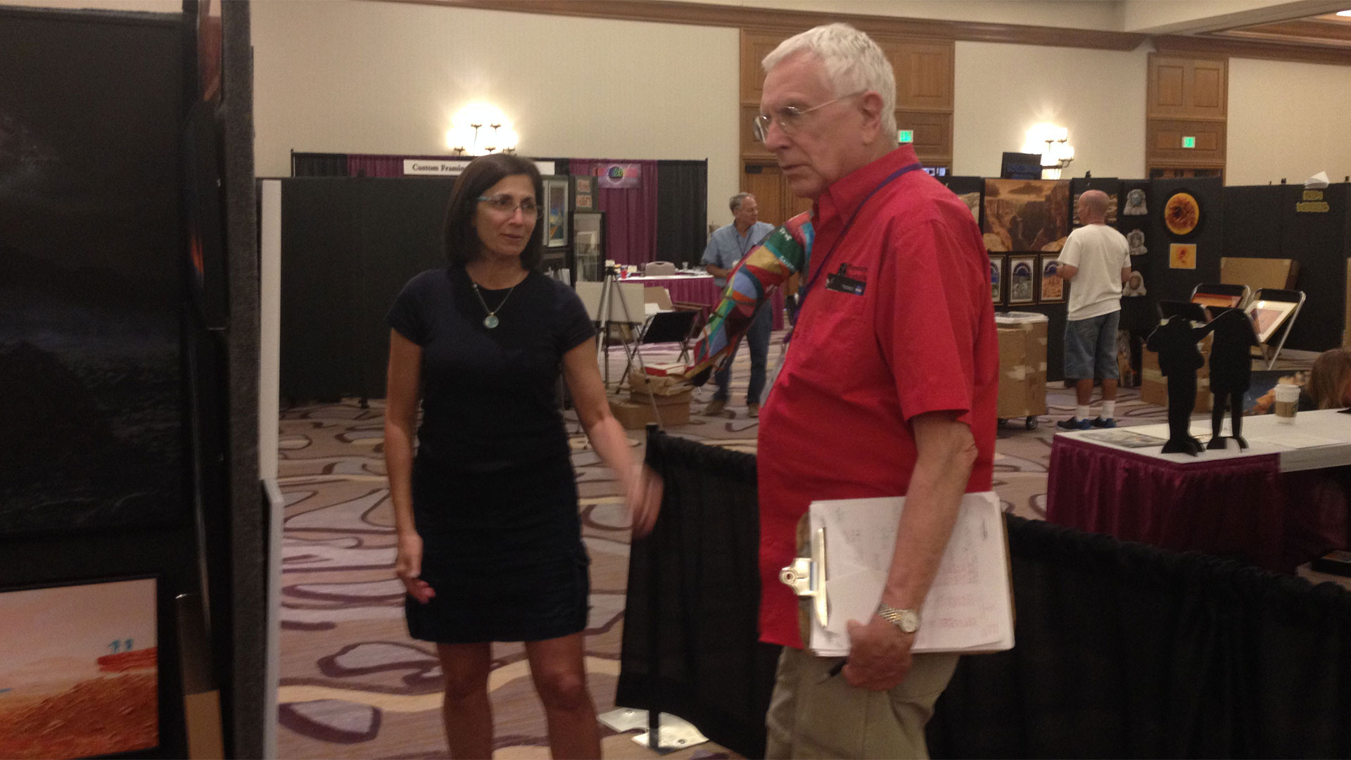 Space artists retired astronaut Nicole Stott and planetary scientist William Hartmann of Tucson meet at Spacefest VIII.
