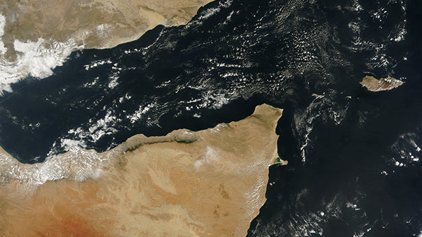The Gulf of Aden separating Yemen and Somalia.
