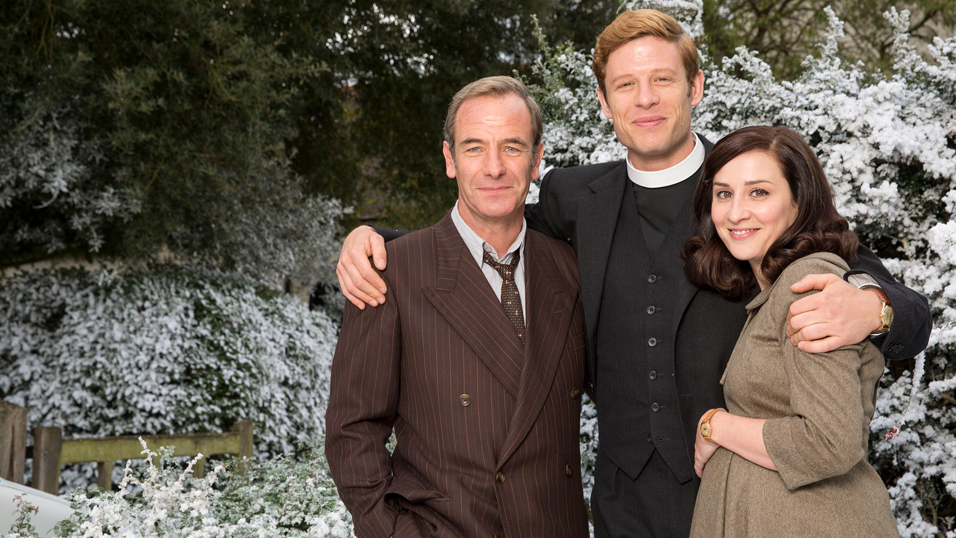 Robson Green as Geordie Keating, James Norton as Sidney Chambers and Morven Christie as Amanda
