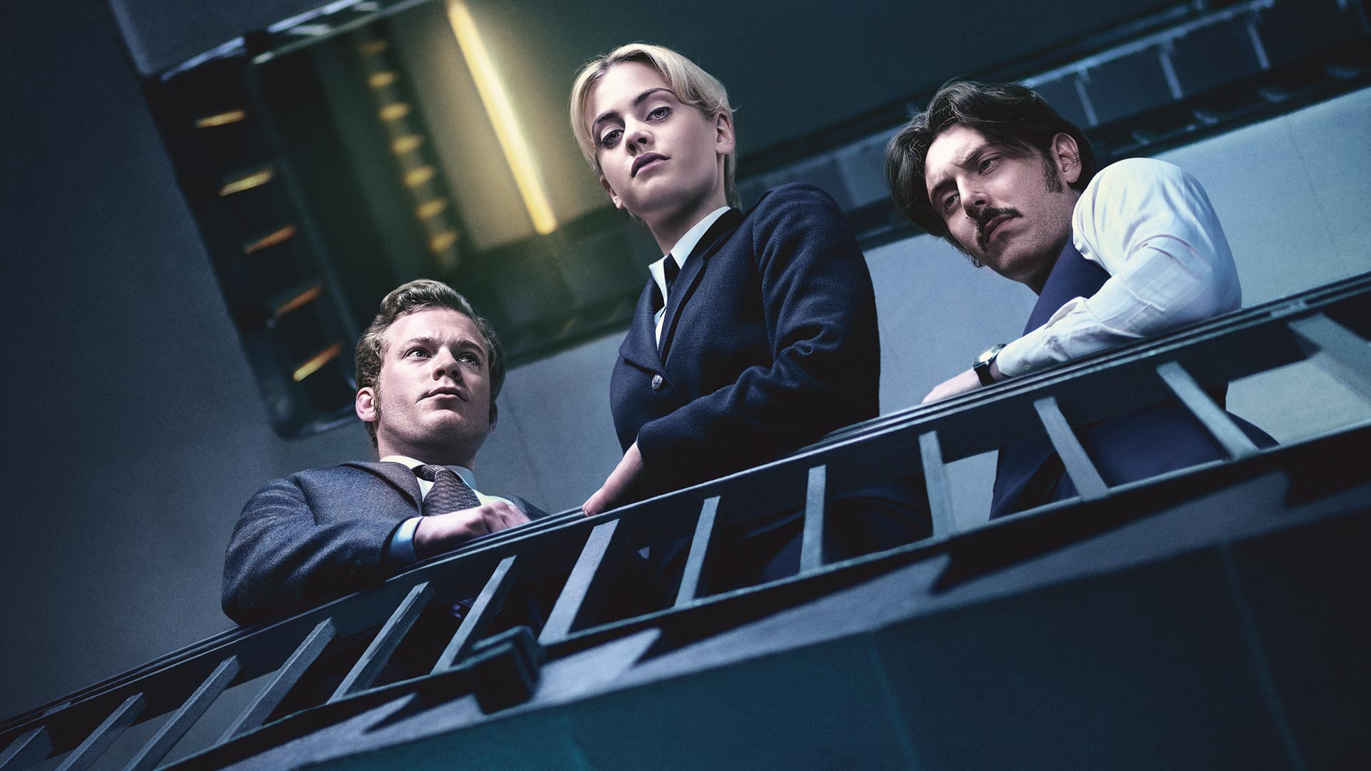 Shown from left to right: Sam Reid as DI Bradfield, Stefanie Martini as Jane Tennison and Blake Harrison as DS Gibbs