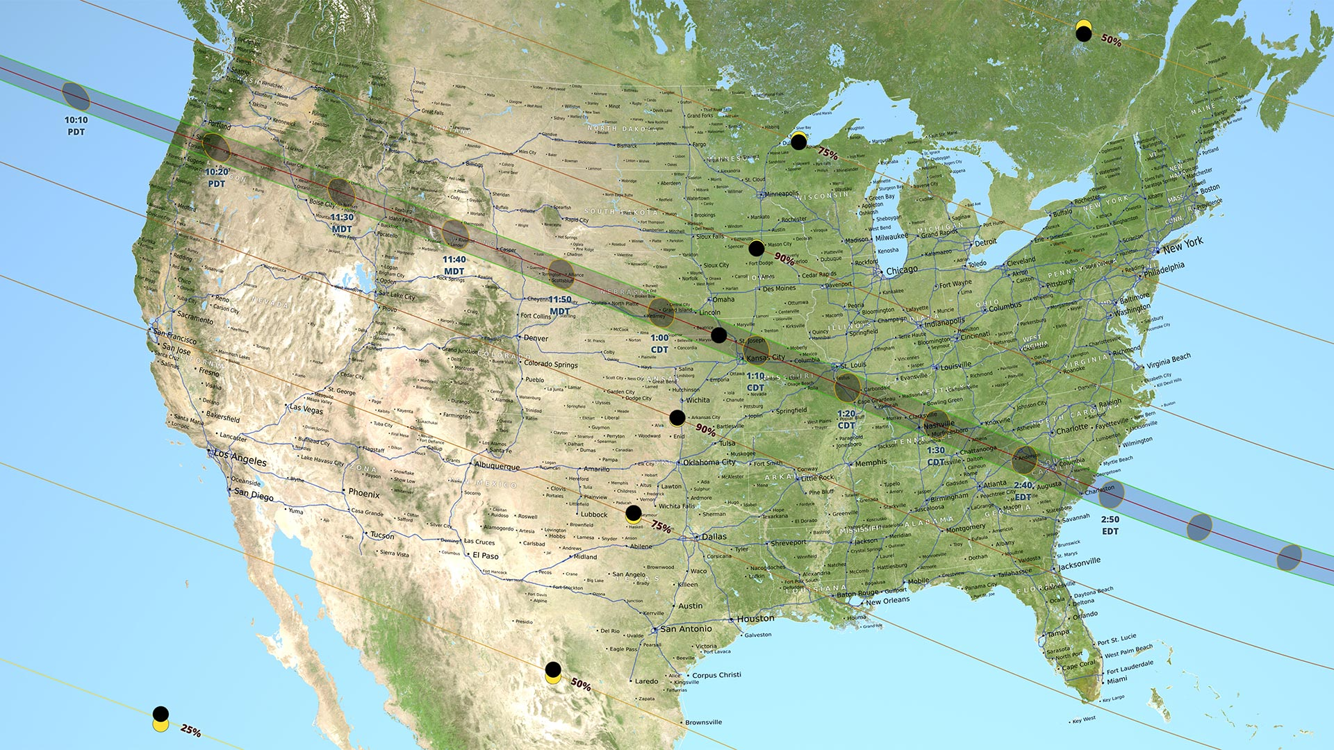 A map of the path of the total solar eclipse occurring Aug. 21, 2017.