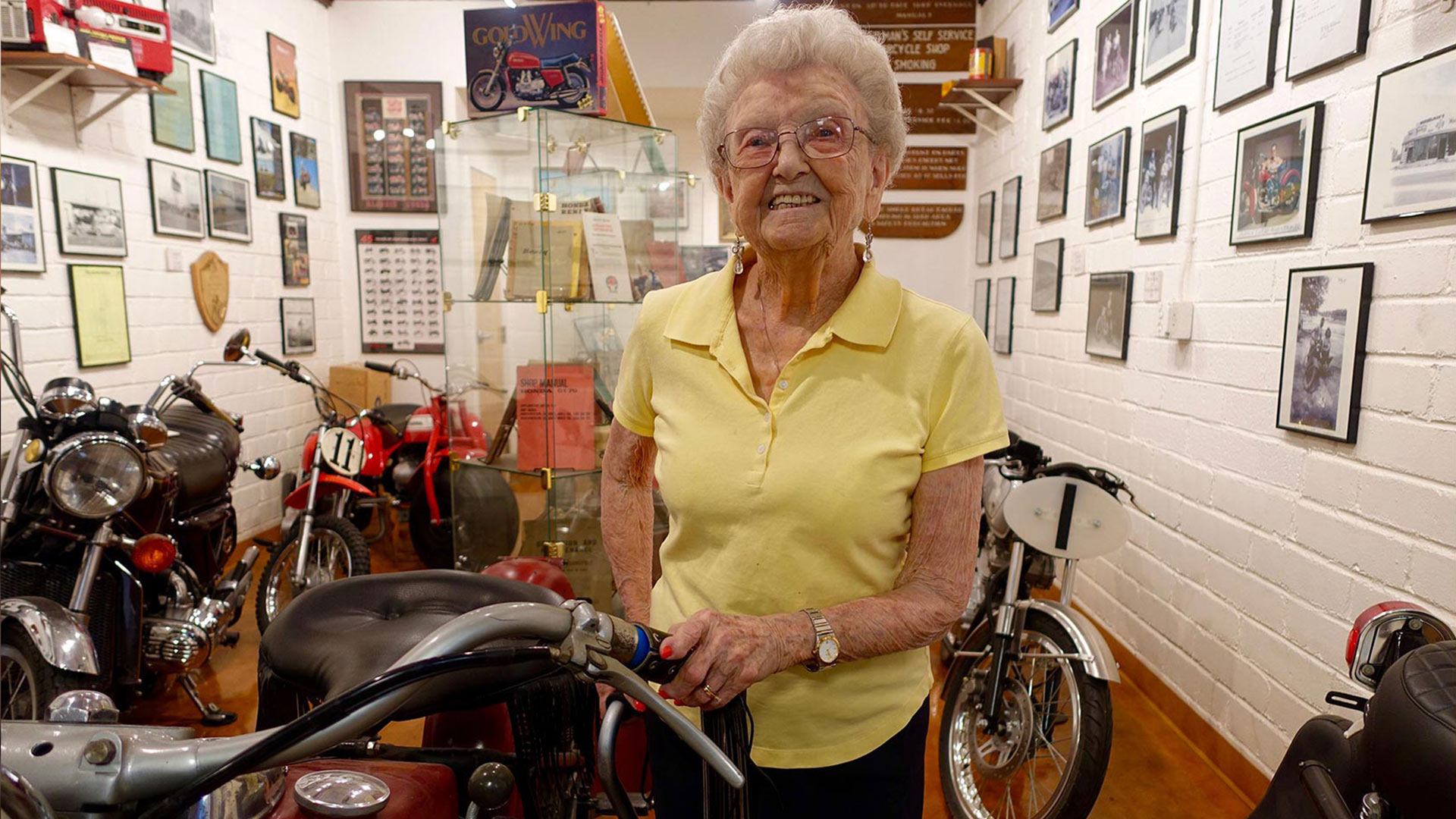 Helen Musselman in her motorcycle shop.