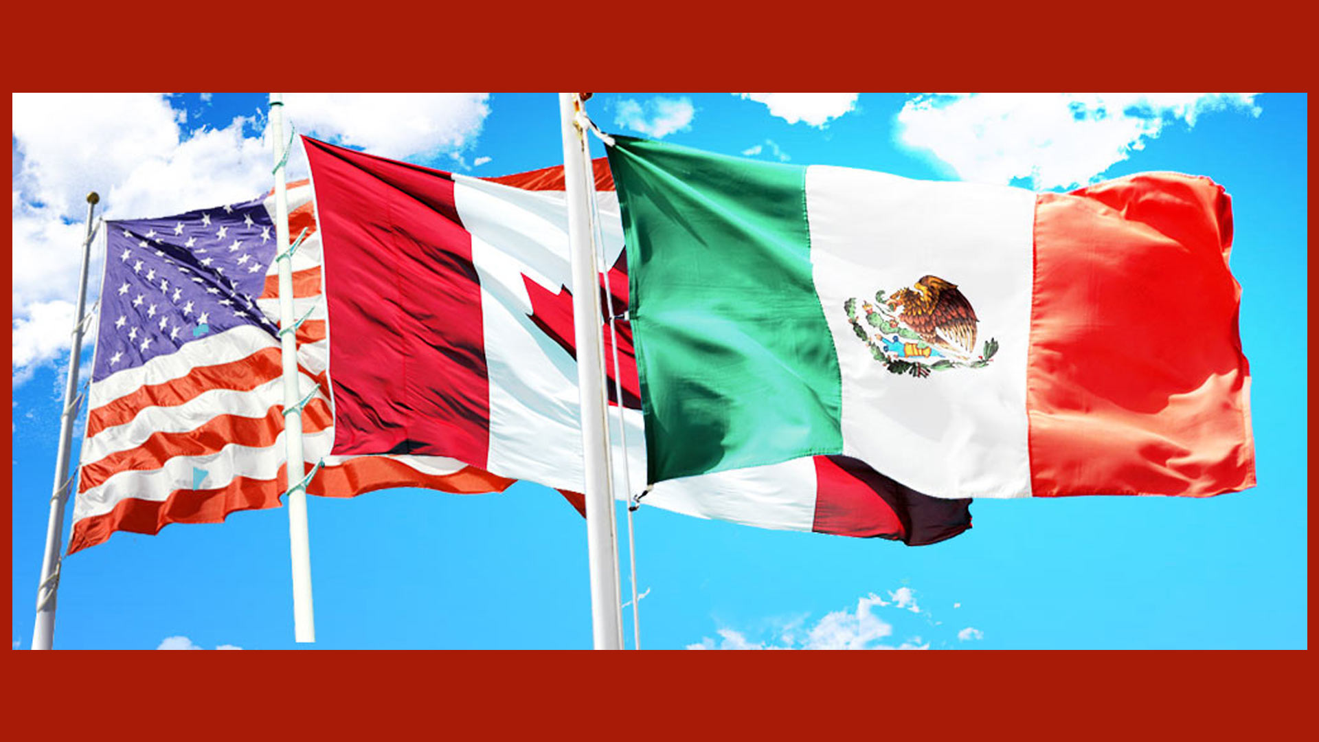 Flags of the U.S., Canada and Mexico.