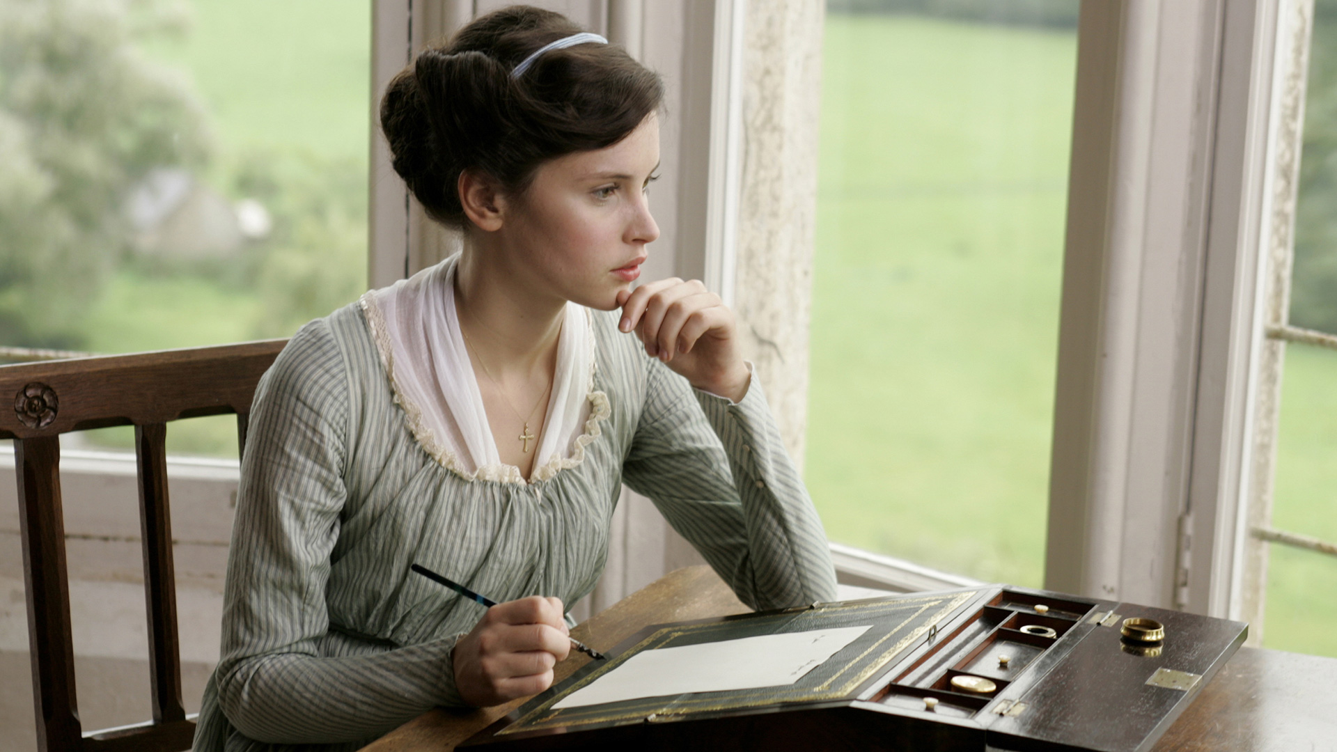 Felicity Jones as Catherine Morland.