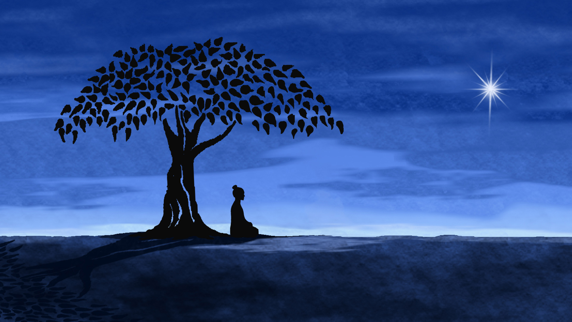 Animation of the Buddha gaining enlightenment while sitting under a fig tree