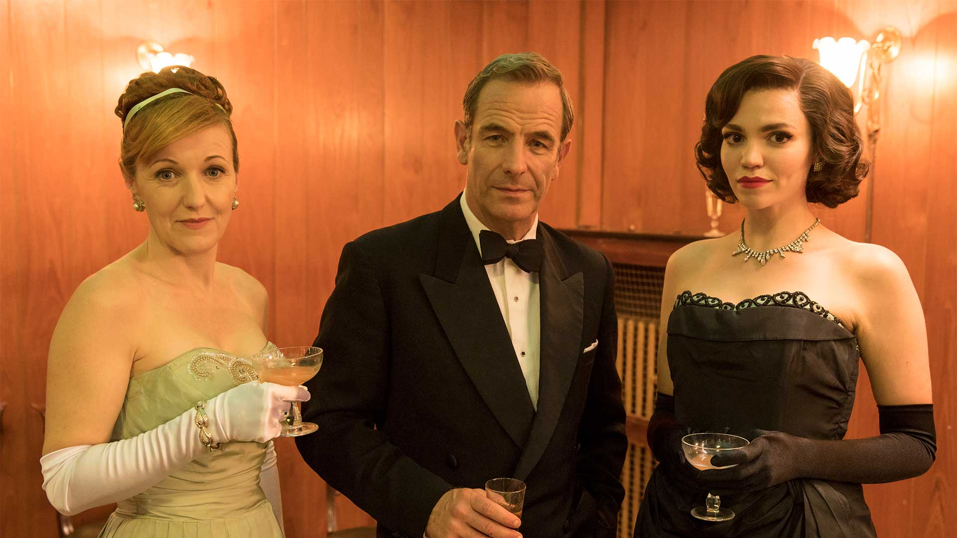 Pictured from left to right: Kacey Ainsworth as Cathy Keating, Robson Green as Geordie Keating, and Seline Hizli as Margaret