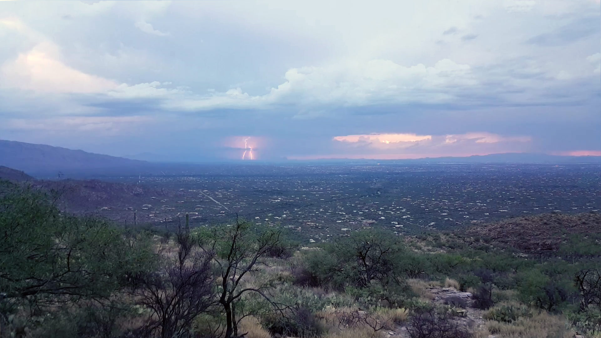 A lightning strike over east Tucson.