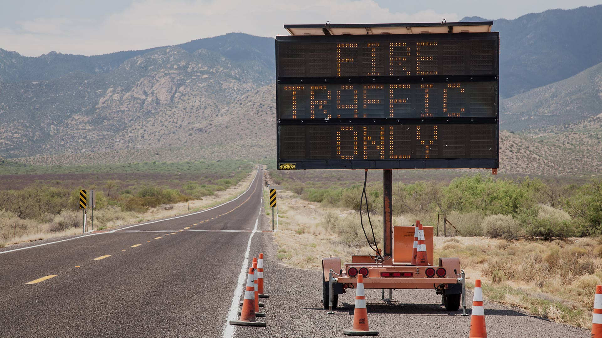 "A ""Fire Traffic Only"" sign during the Frye Fire in the Pinaleño Mountains."