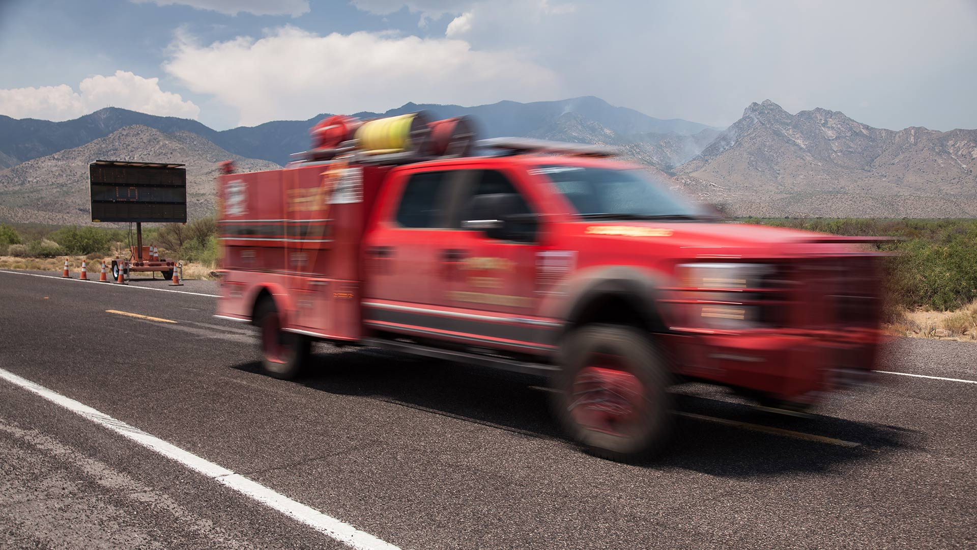 A fire truck returns after responding to the Frye Fire in the Pinaleño Mountains.
