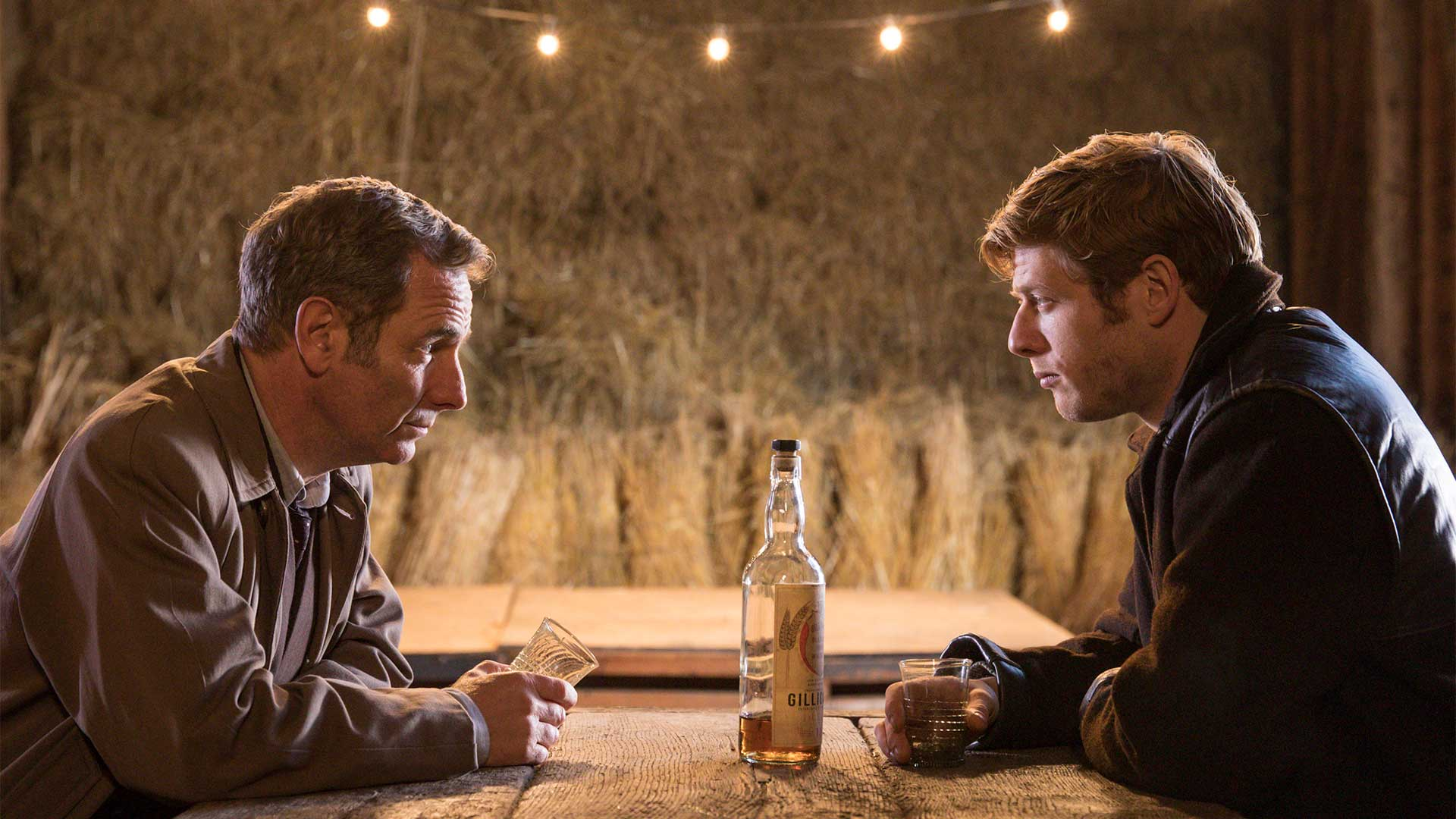 Pictured from left to right: Robson Green as Geordie Keating and James Norton as Sidney Chambers