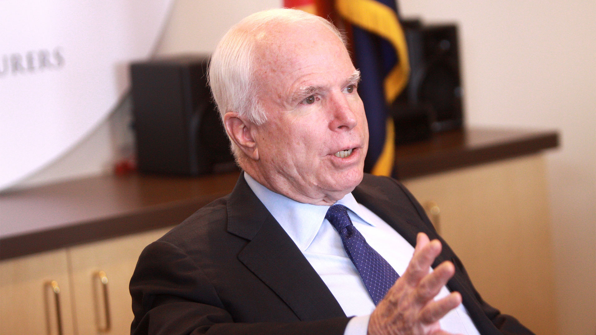 Senator John McCain speaking at a business roundtable hosted by the Arizona Chamber of Commerce & Industry in Phoenix, Arizona in 2013.