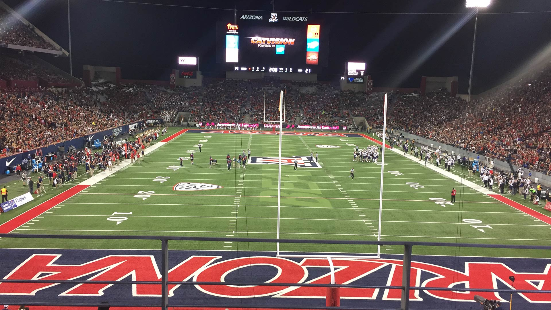 View from the north end zone at Arizona Stadium.