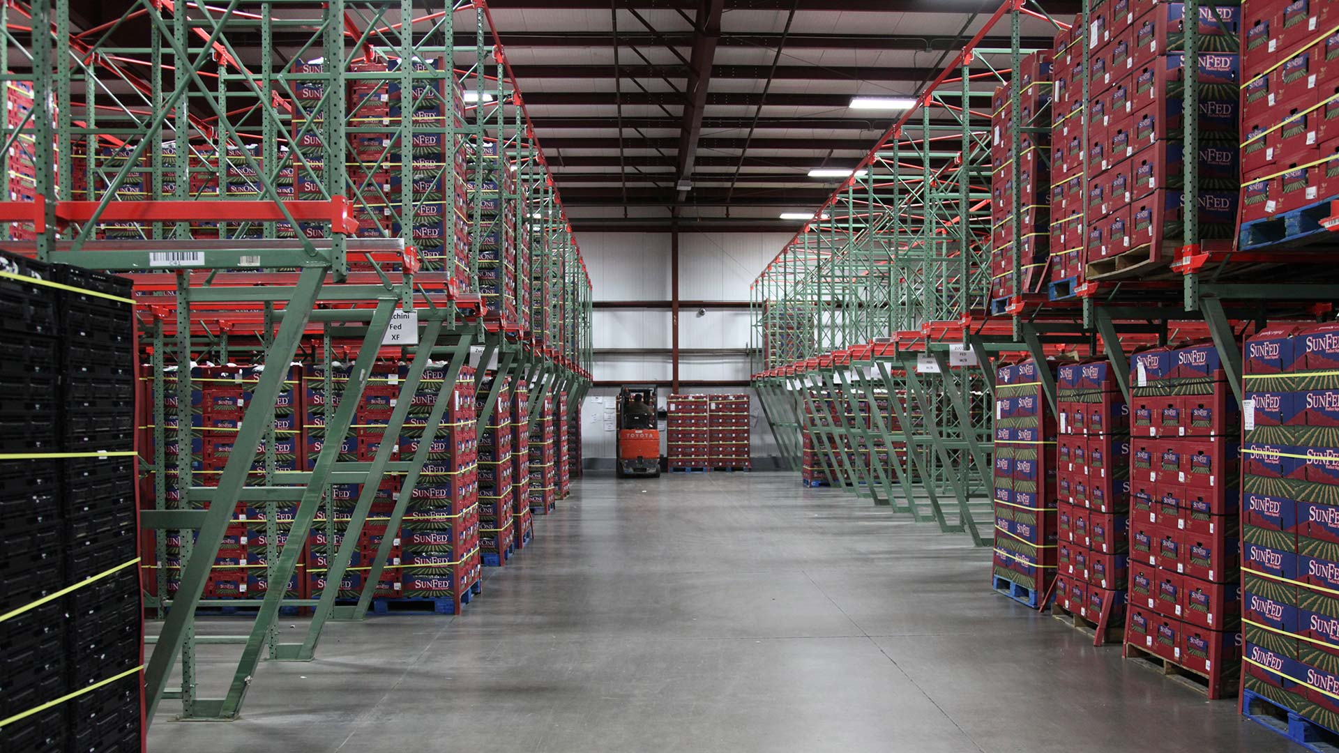 A warehouse storing produce.