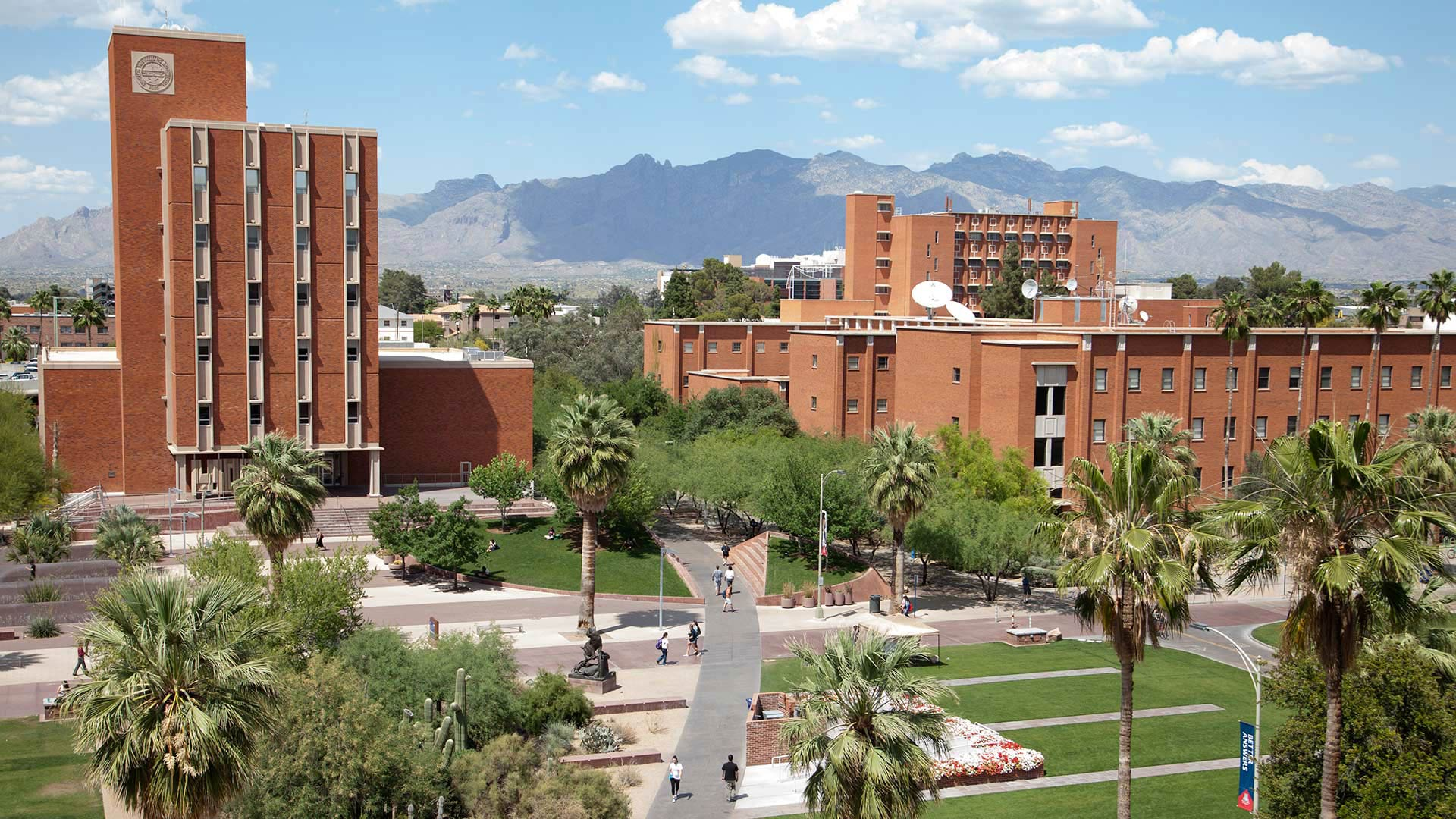 View of the Administration and Modern Languages Buildings on the UA Campus.